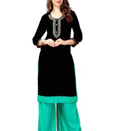 Black embroidered cotton stitched  party wear kurtis