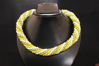 Yellow-Green-White Rope Neckalce