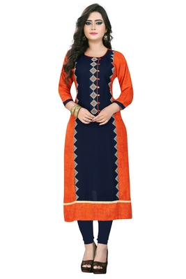 Orange embroidered rayon stitched  party wear kurtis
