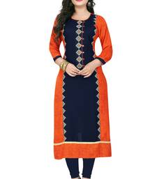 Orange embroidered rayon stitched  party-wear-kurtis