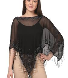 Buy Black Silk Georgette Embellished stitched tops party-top online