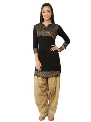 Ira Soleil Black Kurti made in viscose lycra with gold tinsel print