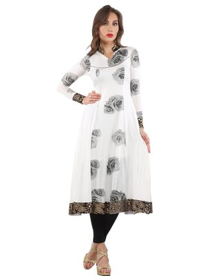 Ira Soleil White Long Anarkali Kurti with Black foral print made in Polyester Lycra fabric