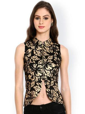 Ira Soleil Black all over printed Jacket made with Polyester lycra fabric