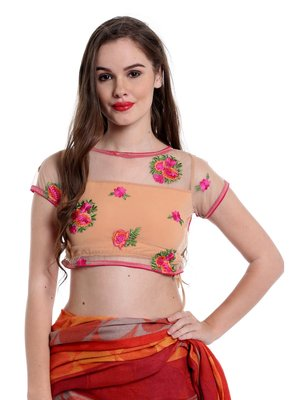 Ira soleil Beige cap sleeve embroided Black lace saree Blouse