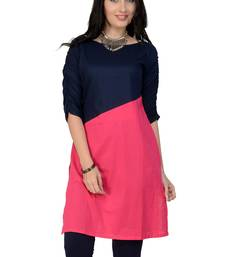 Pink woven cotton stitched kurtas-and-kurtis
