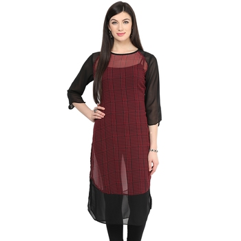 Red printed georgette stitched kurtas-and-kurtis