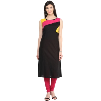Multicolor woven cotton stitched kurtas-and-kurtis