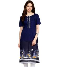 Navy woven cotton  stitched kurtas-and-kurtis
