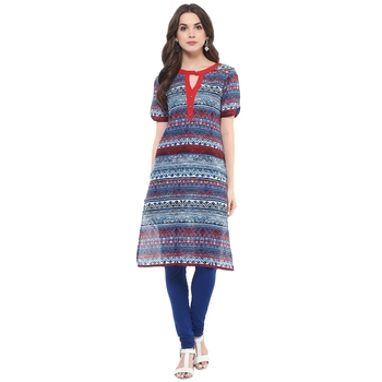 Multicolor printed cotton stitched kurtas-and-kurtis