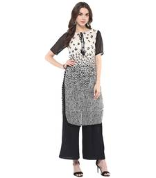 Off white printed georgette stitched kurtas-and-kurtis