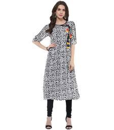 Buy Black woven rayon stitched kurtas-and-kurtis kurtas-and-kurtis online