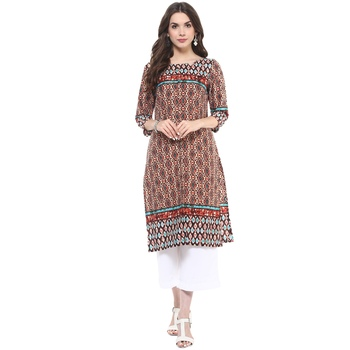 Multicolor printed polyester stitched kurtas-and-kurtis