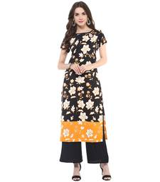 Buy Black printed polyester stitched kurtas-and-kurtis kurtas-and-kurtis online