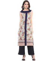 Navy printed polyester stitched kurtas-and-kurtis