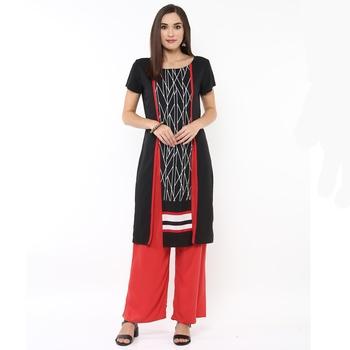 Black printed polyester stitched kurtas-and-kurtis