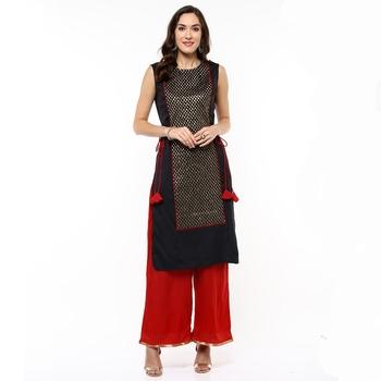 Black woven polyester stitched kurtas-and-kurtis