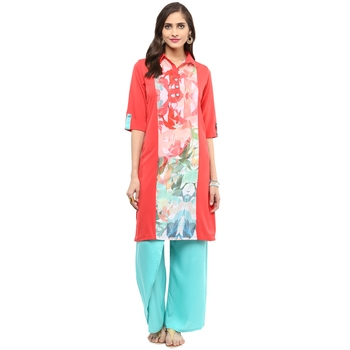 Coral printed crepe stitched kurtas-and-kurtis