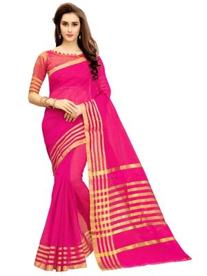 Dark pink woven chanderi silk saree with blouse