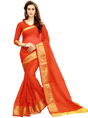 Red woven chanderi silk saree with blouse