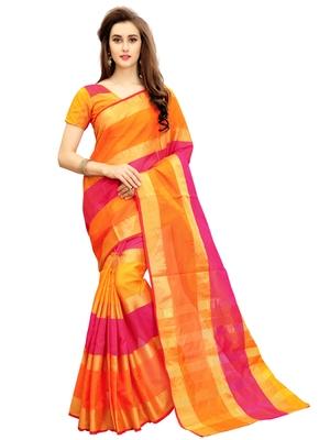 f68c8d69844 Multicolor woven chanderi silk saree with blouse - GLORY SAREES - 2121605
