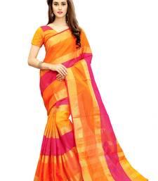 Buy Multicolor woven chanderi silk saree with blouse chanderi-saree online