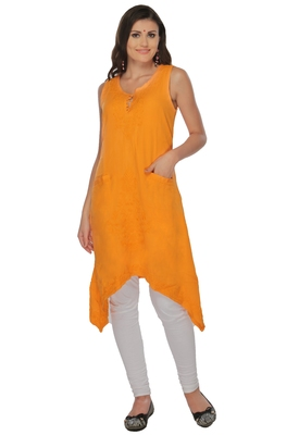 Ada Mustard Hand Embroidered Chikankari Cotton Kurti
