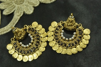 Ram Leela Royal Black colour Coin Earrings