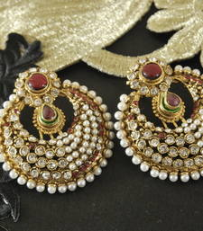 Buy Traditional Maroon colour studded with Pearl Earrings hoop online