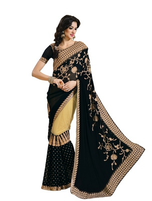 Black, Beige embellish Georgette, Net Designer Saree With Blouse