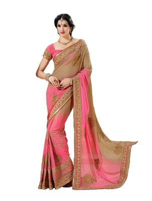 Onion Pink, Beige embellish Chiffon Designer Saree With Blouse