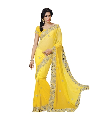 Bright Yellow embellish Georgette Designer Saree With Blouse