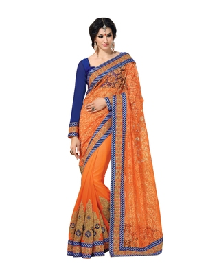 Orange, Royal Blue embellish Net Designer Saree With Blouse