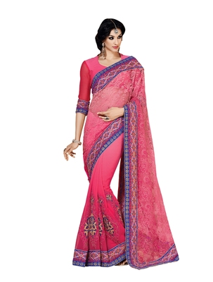 Neon Pink embellish Chiffon, Net Designer Saree With Blouse