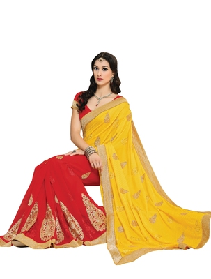 Yellow, Red embellish Chiffon, Fancy Jacquard Designer Saree With Blouse