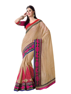 Beige, Pink embellish Zari Tussar Designer Saree With Blouse