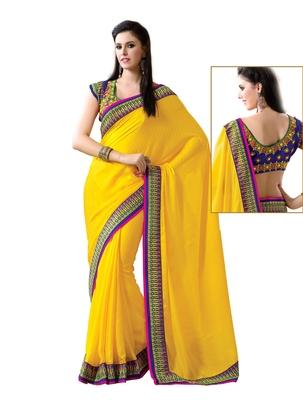 Yellow embellish Jacquard Designer Saree With Blouse