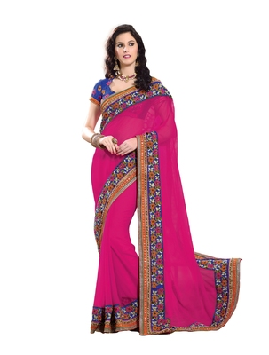 Pink, Violet embellish Georgette Chiffon Designer Saree With Blouse