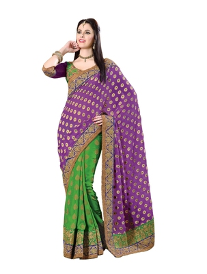 Purple, Green embellish Viscose, Georgette Designer Saree With Blouse