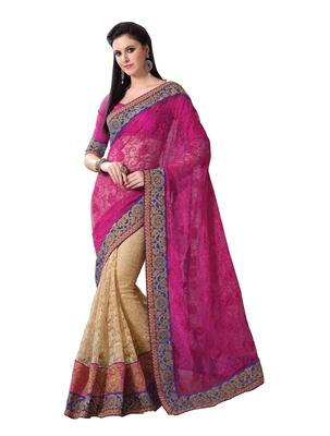 Pink, Beige embellish Royal Net Designer Saree With Blouse
