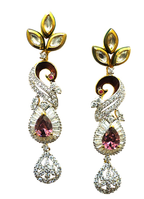 Vatika kundan with american diamond Peacock earring