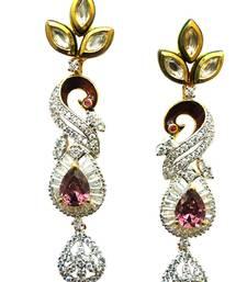 Buy Vatika kundan with american diamond Peacock earring danglers-drop online