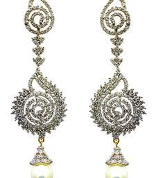 Buy Vatika white drop american diamond earring danglers-drop online
