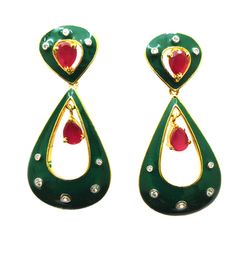 Vatika designer pink and green american diamond earring