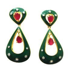 Buy Vatika designer pink and green american diamond earring danglers-drop online