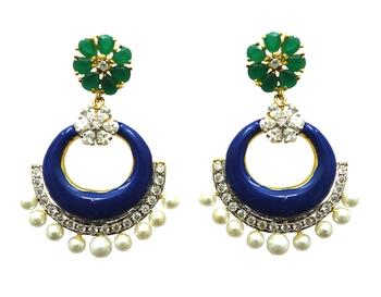 Vatika blue, green stone and white pearl american diamond earring