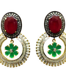 Buy Vatika pink, green stone and round shaped american diamond earring danglers-drop online