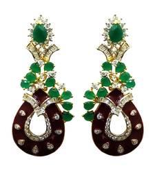 Buy Vatika attractive maroon and green american diamond earring danglers-drop online