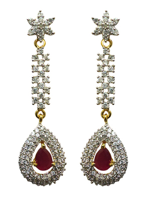 Vatika beautiful pink american diamond earring