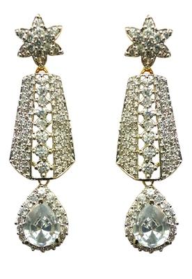 Vatika white stone drop american diamond earring